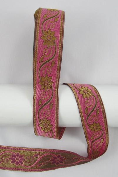 Blume Jacquardband Doppelseitig 33mm, rosa-gold