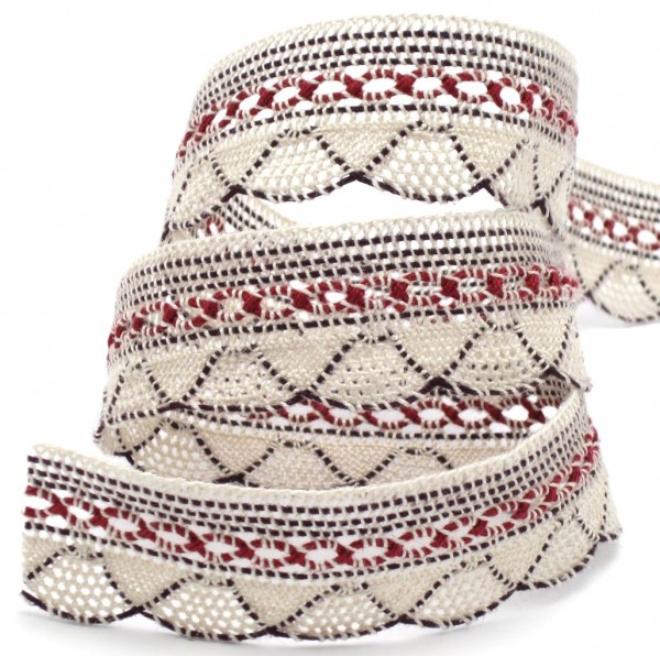 Baumwollspitze, creme-bordeaux, 27mm breit