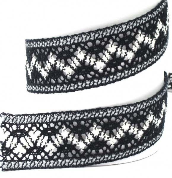 Klöppelspitze, Baumwolle, schwarz-weiß, 40mm