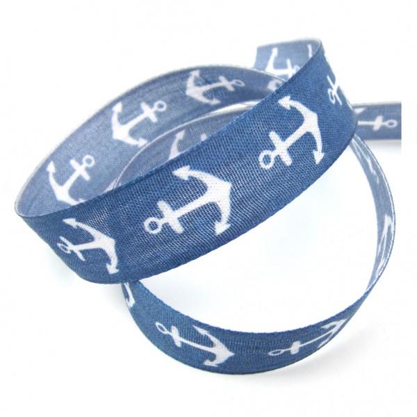 Ankermotiv, blau, Druckband, 25mm breit, mit formstabiler Kante