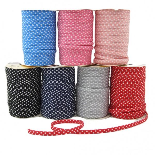 Spaghetti Träger Band mit weißen Punkten, 7mm breit - 7 Farben zur Auswahl