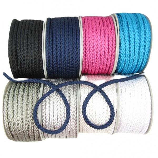 Kordel geflochten, glänzend, 8mm breit - 8 Farben zur Auswahl