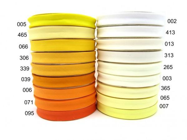 Schrägband 18mm UNI - 18 Farbtöne - weiß- creme - gelb - orange