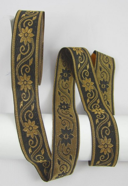 Blume Jacquardband Doppelseitig 33mm, schwarz-gold
