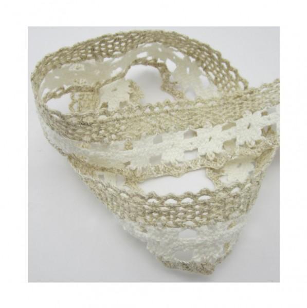Spitze, Baumwolle-Leinen, natur-weiß, 44mm breit