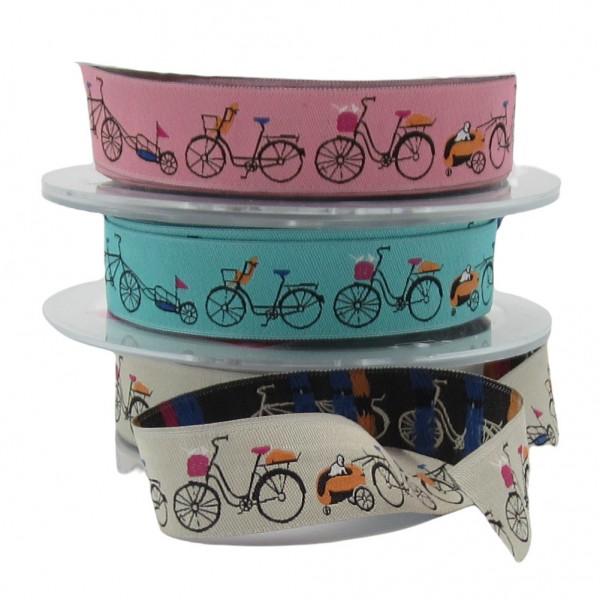Fahrrad-Motiv, 22mm breit, 3 Farben zur Auswahl
