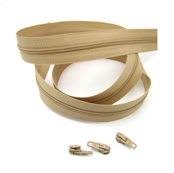 Endlosreißverschluss, 4mm Spirale - beige