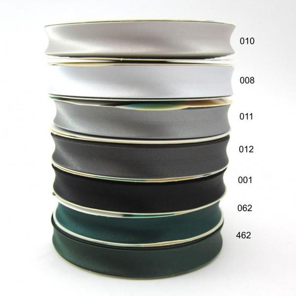 Satin Schrägband uni, 18mm - schwarz - grau - grün