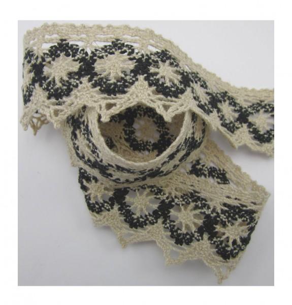 Spitze, Baumwolle-Leinen, natur-schwarz, 44mm breit
