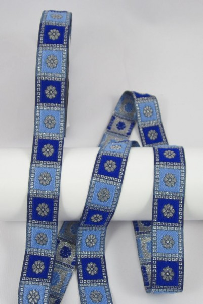 Blume Jacquardband 24mm, blau