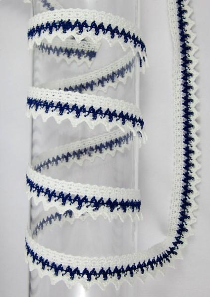 Spitze, mercerisiert, 25mm, weiß - dunkelblau