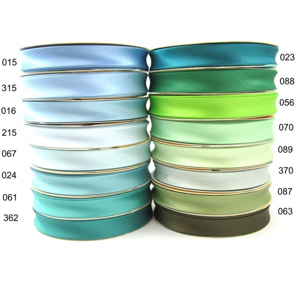 Satin Schrägband uni, 18mm - hellblau - grün