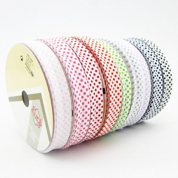 Schrägband weiß mit farbigen Punkten,