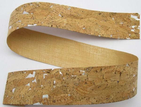 Korkband, braun 50mm silber oder goldener Hintergrund