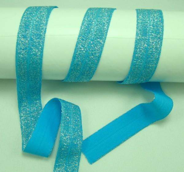 Elastisches Schrägband, Falzband, Glitzer, 22 Farben, 20/10mm