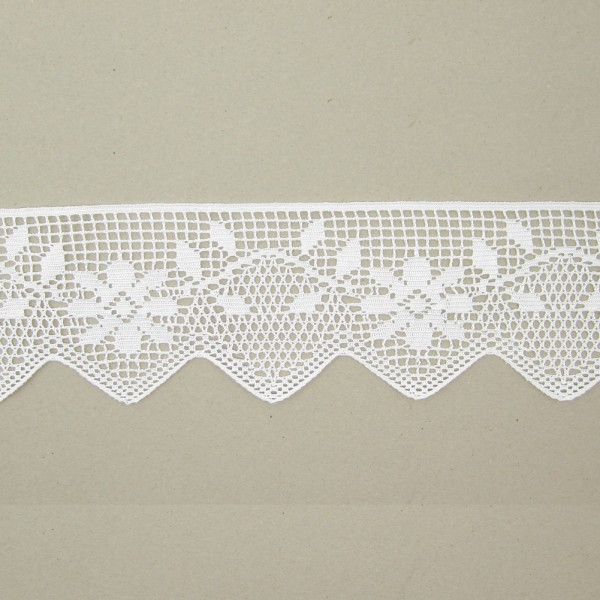 Spitze mit Blumenmuster Polyester weiß, 105mm breit