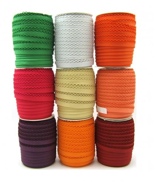Schrägband mit Häkelborte - 9 Farben verfügbar