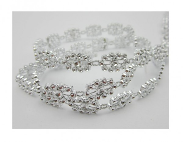 Hina, glitzerndes Perlenband, silber glänzend