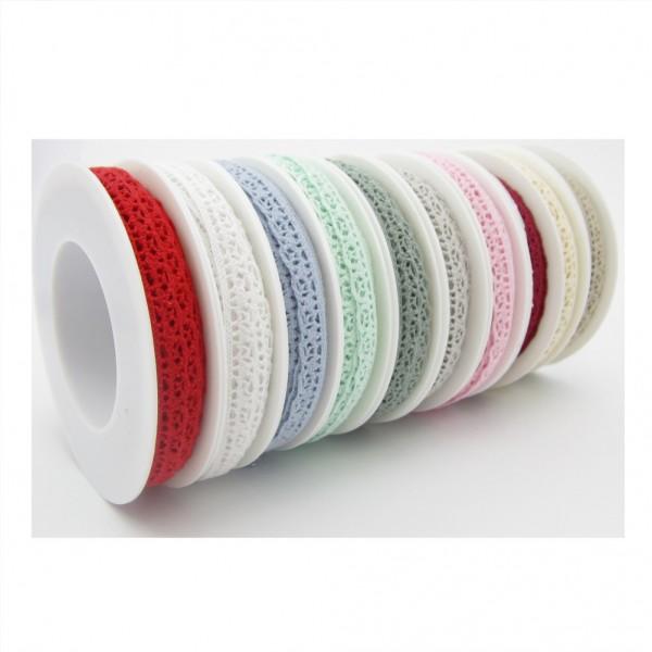 Häkelspitze, 10mm breit, 9,5meter lang - 10 Farben zur Auswahl