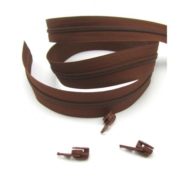 Endlosreißverschluss, 4mm Spirale - braun