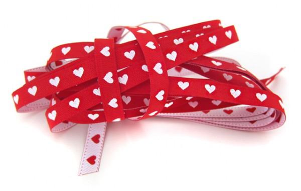 Herzchenband, schmal, rot, hellrosa, rosa