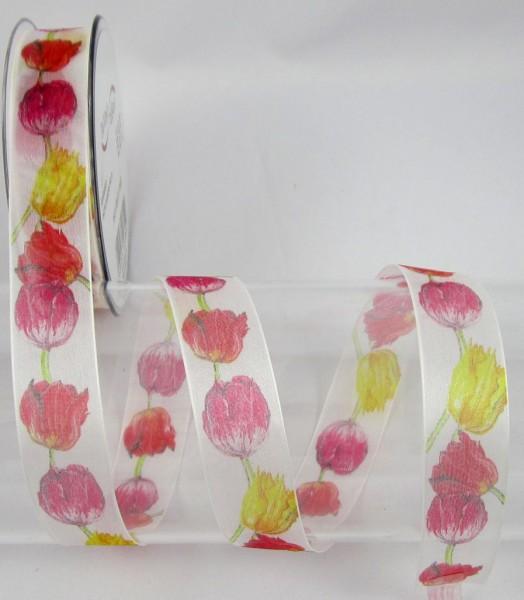 Tulpen mit Drahtkante, farbig, 25mm