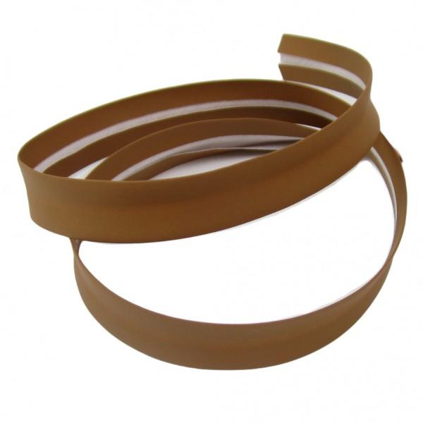 Schrägband Kunstleder, 18mm breit, mandelbraun