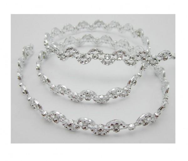 Shine, glitzerndes Perlenband, silber glänzend