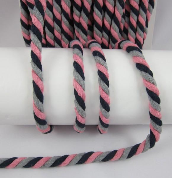 Baumwollkordel, gedreht, 14mm, grau-rosa-schwarz