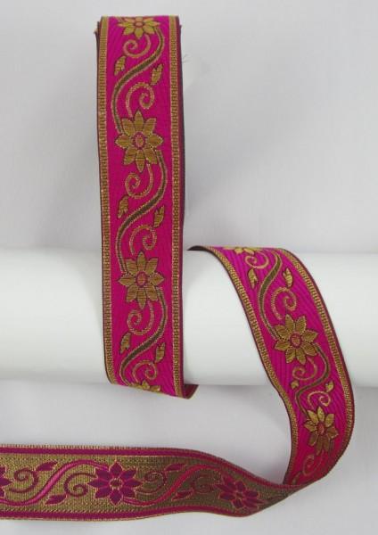 Blume Jacquardband Doppelseitig 33mm, pink-gold