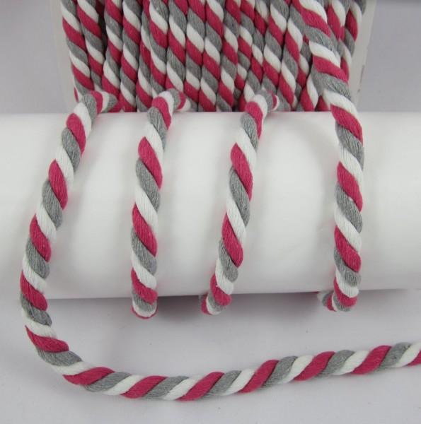 Baumwollkordel, gedreht, 14mm, weiß-grau-pink
