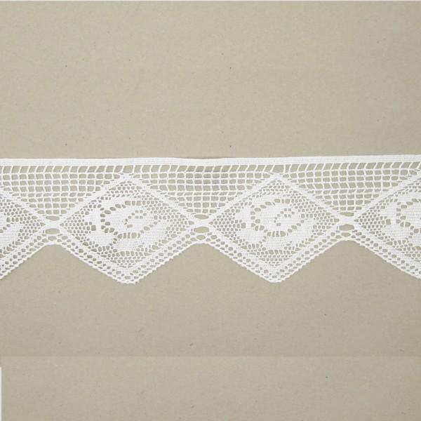 Spitze Blume in Raute Polyester 105mm breit, weiß