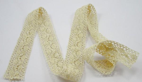 Klöppelspitze 40mm breit, creme mit goldfäden
