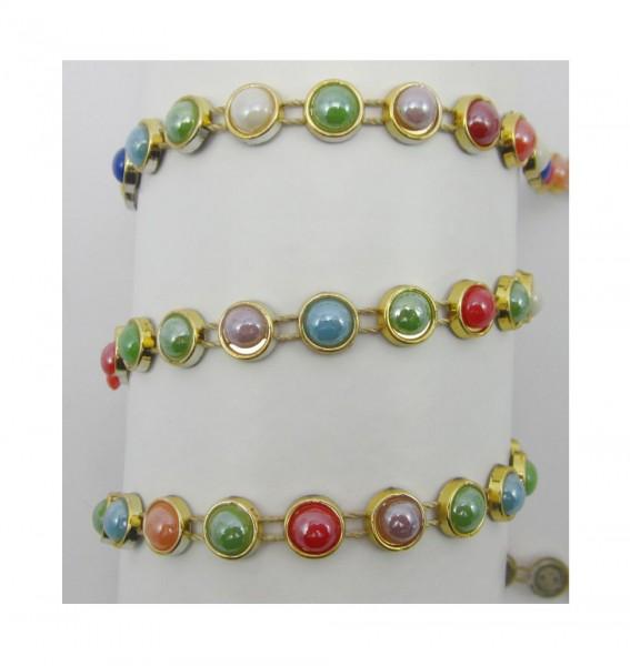 Ornella, glitzerndes buntes Perlenbandband, glänzend