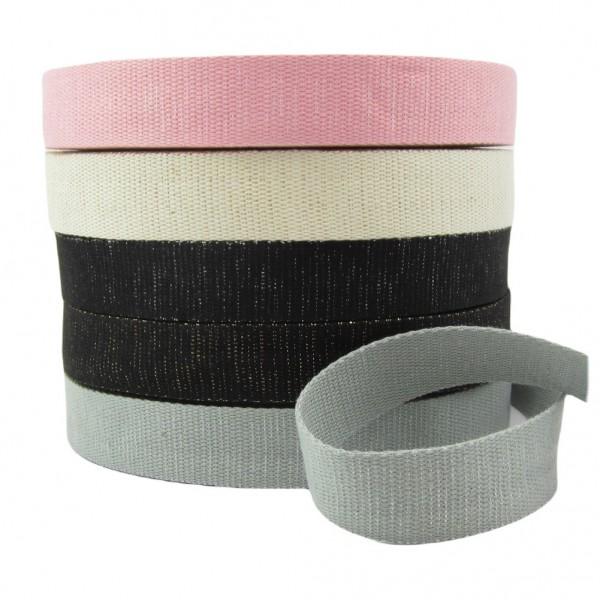 Gurtband mit Metallfäden, 30mm breit - 5 Farben zur Auswahl