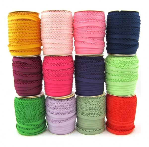 Schrägband mit Häkelborte - 12 Farben verfügbar