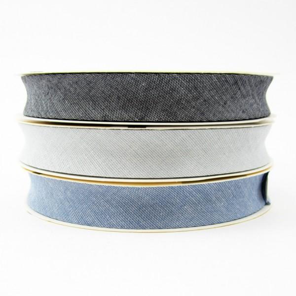 Schrägband mit Jeansoptik, 18mm breit - 3 Farben zur Auswahl