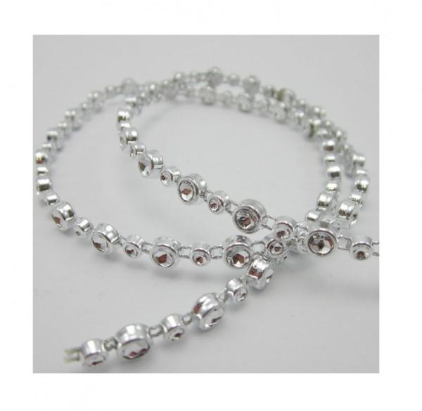 Glamour, glitzerndes Perlenband, silber glänzend