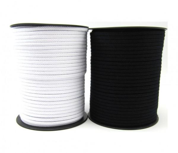 Baumwollkordel 4mm, weiß oder schwarz