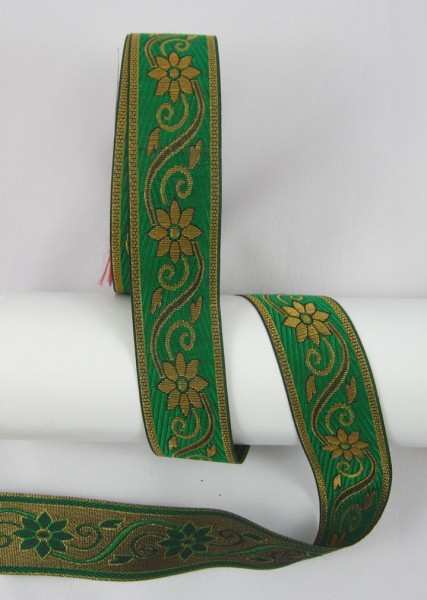 Blume Jacquardband Doppelseitig 33mm, grün-gold