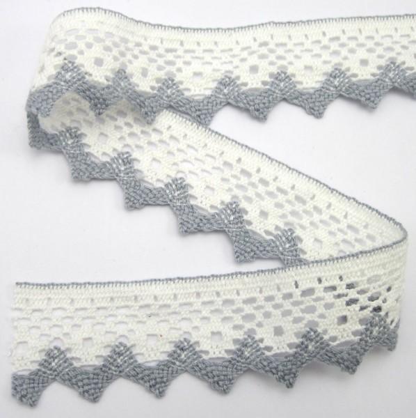 Baumwollspitze, weiß-grau, 40mm