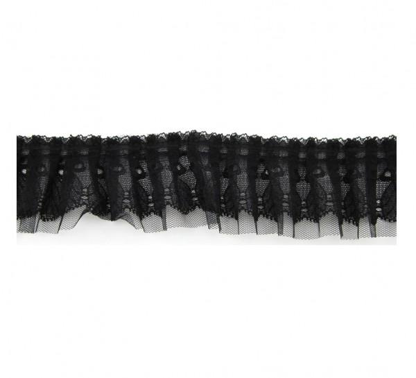 Rüschenspitze, Tüll, 5cm breit - schwarz oder weiß
