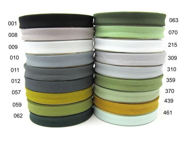 Polyester-Baumwolle Schrägband 18mm schwarz grau grün