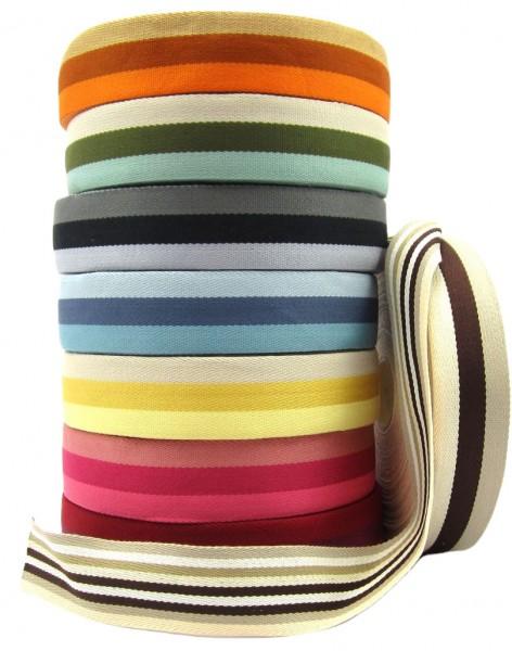 Gurtband mit Streifen 40mm breit - 8 Farben zur Auswahl