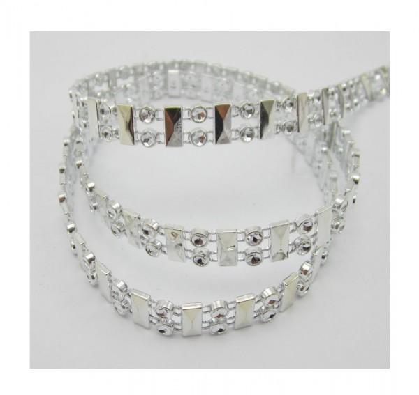 Akari, glitzerndes Perlenband, silber glänzend