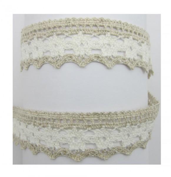 Spitze, Baumwolle, 34mm breit, weiß-creme