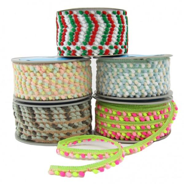 Pompomborte zweifarbig, 11mm breit mit 5mm Bommel, - 5 Farben zur Auswahl
