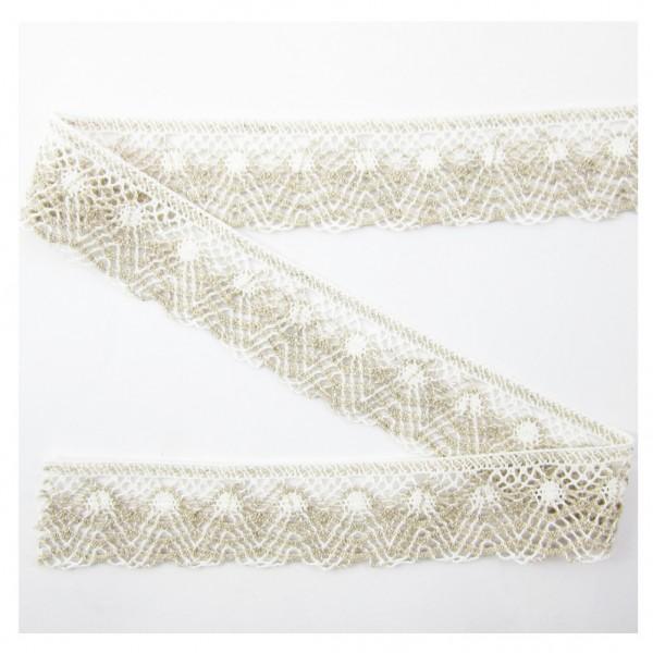 Spitze, Baumwolle-Leinen, natur-weiß, 50mm breit