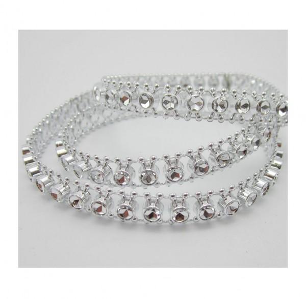 Chain, glitzerndes Perlenband, silber glänzend
