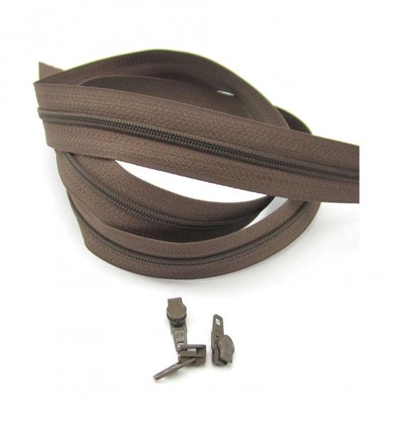 Endlosreißverschluss, 4mm Spirale - schokobraun